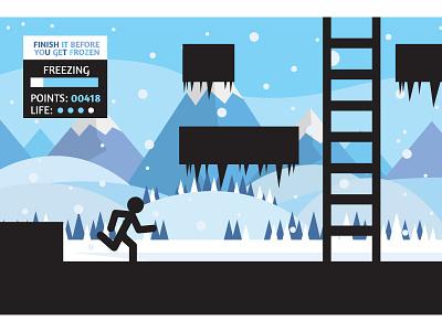 Freezing  landscape mountains winter ice stickman videgame