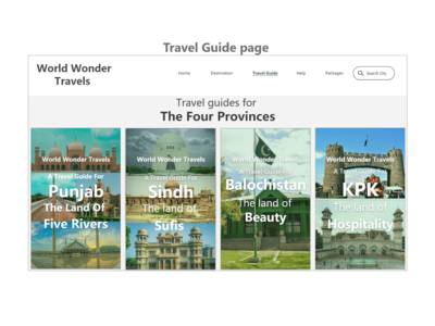 Website (travel guide) button Landing Page