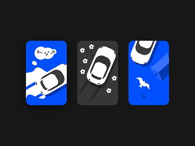 Monthly cards driving design illustration cards moths application automotive car ux mobile app graphic design ui