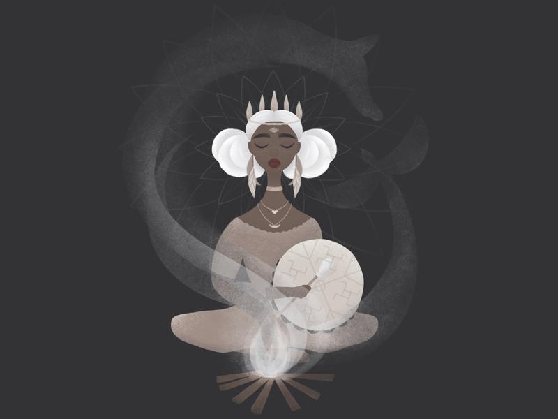 Shaman soul dark digitalart illustration illustrator boho fantasy shaman magic art adobe photoshop girl character