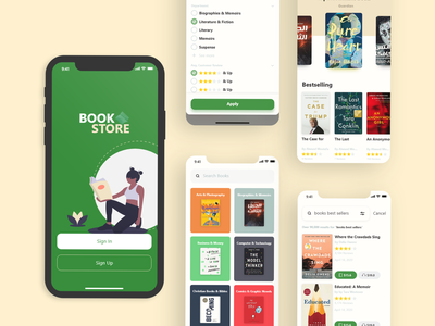 Book Store UI ui mobile app design interaction design uidesign design prototype ui ux design ui design interface app design