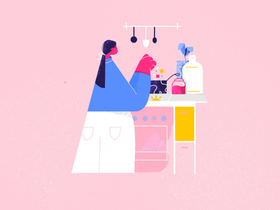 Cooking in the kitchen goop cooking illustration explainer video vector pink illustration character design