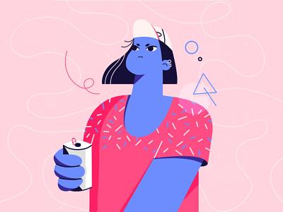 Firece Girl avatar adobe creative suite adobe creative adobe photoshop adobe illustrator flatdesign girl pink blue design character character illustration vector illustration procreate illustration character design