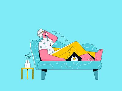 On the phone woman girl adobe illustrator illustrator illustration character design