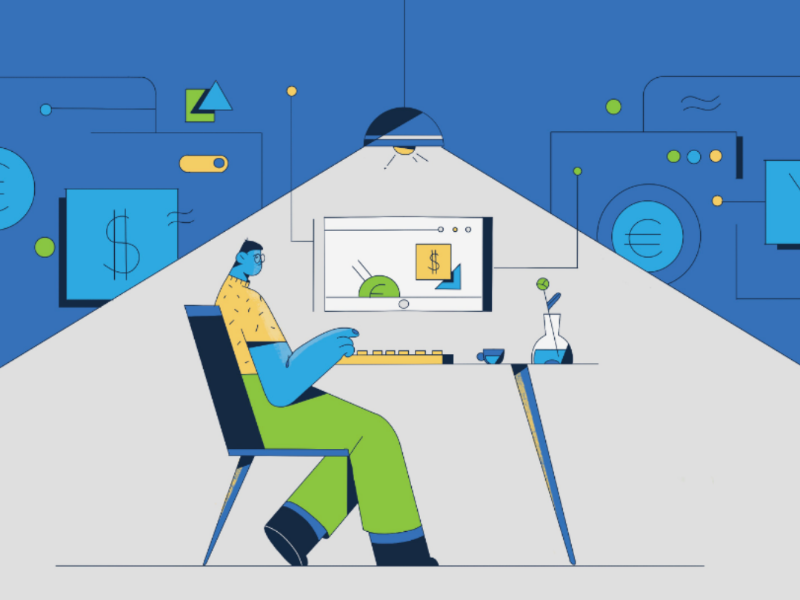 A2X explainer video style frames working computer accountancy accounting linear line art explainer video illustration character design