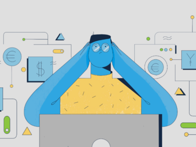 A2X for Amazon styleframe blue accounting explainer video line art character design illustration