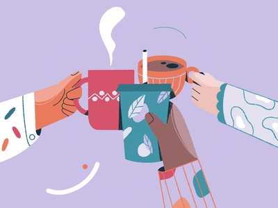 Cheers! For the coffee lovers adobe illustrator vector illustration poster art coffee cup coffee procreate character illustration character design