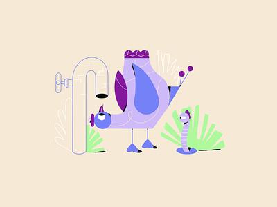 Where you at!? funny birds colourful illustrator line art illustration adobe illustrator character vector illustration character design