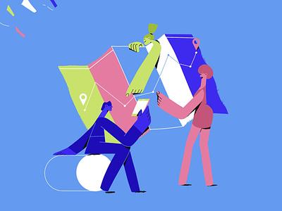 Navigation colourful illustrator editorial marketing mobile phone ui ux navigation map character illustration vector illustration illustration character design