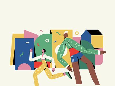 Olympics vector illustration branding ui illustration freelance illustrator passion project running sports olympics colourful adobe illustrator character vector illustration character design