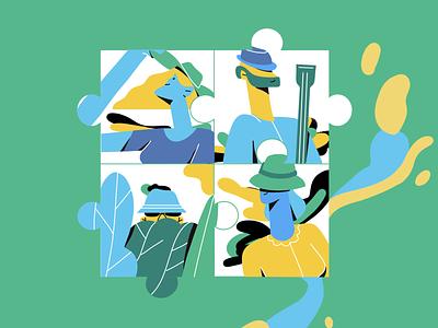 Hats & Characters greenery music green hats ui girl line art illustrator character illustration adobe illustrator character vector illustration illustration character design