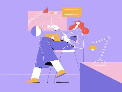The Girl enjoying work branding colourful illustrator character line art character illustration adobe illustrator illustration vector illustration work character design