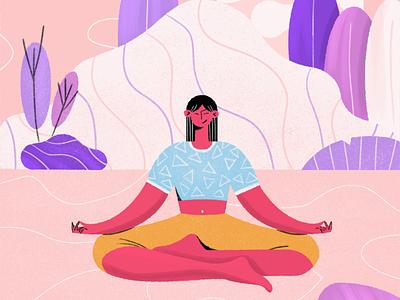 Yoga girl illustration chatacter design yoga illustration vector illustration illustration