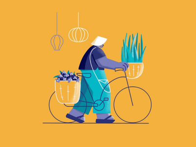 Vietnamese Guy yellow character design travel vietnam illustration vietnamese