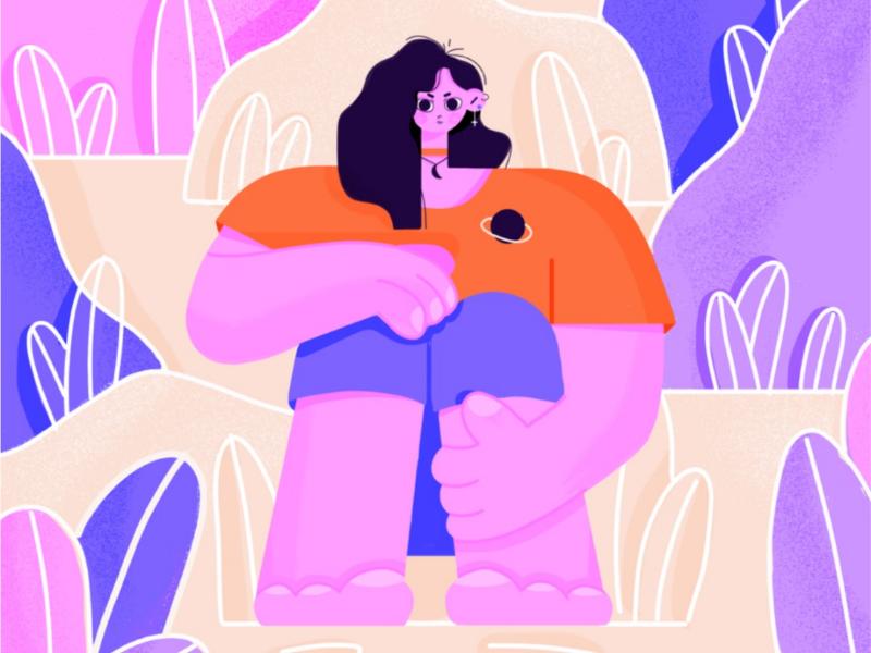 Girl in Bushes style frame colourful art girl design illustration illustrator character design