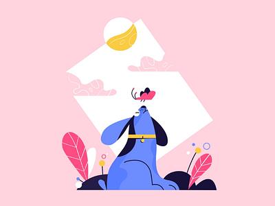 Doggo illustration blue pink animals doggo dog illustration character design illustration