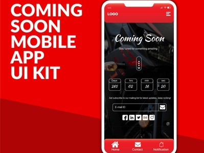 Coming Soon Mobile App UI kit Design