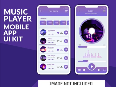 Modern Music Player Mobile App UI kit Design