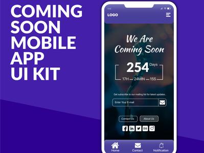 Coming Soon Mobile App UI kit Design