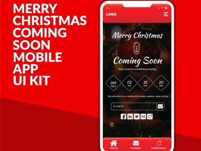 Merry Christmas Coming Soon Mobile App UI kit Design