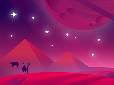 Untopia - Conept ilustation sorcerer king game vector planet cosmos piramides dessert 2d concept art game art illustration