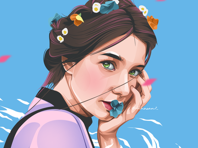 The Wind Girl cartooning fiverr design fiverrgigs fiverr vectorart vectorface vector illustration vectors vector art vector face vector portrait vector portrait girl illustration cartoon portrait cartoon face cartoon