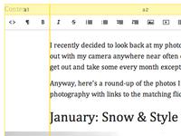 WYSIWYG blog editor with layout