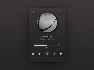 Music Player music player dark ui software design product design uitrends uxdesign uidesign neumorphism neomorphism mobile app