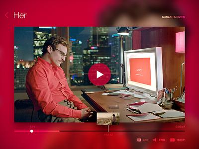 Video Player Exploration flat clean blur web app her ux ui movie player video player video