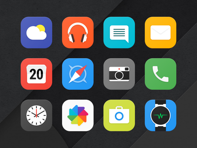 Alcatel Launcher App Icons paper launcher iconography ui material design icons flat material mobile android app