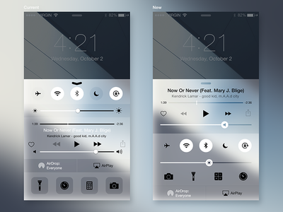 iOS8 Control Center Redesign improvement redesign translucency interface ui ux iphone apple control center ios8 ios