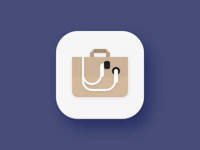 Accessories Shop Icon shop bag shopping headphones earbuds android mobile app material flat icons icon