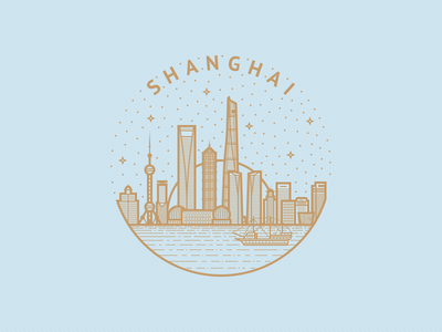 A tribute to Shanghai sun ship seal buildings skyscrapers stars water city outline logo shanghai illustration