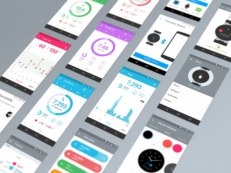 Onetouch Move App activity dashboard wearables colourful google android material ux ui flat mobile app