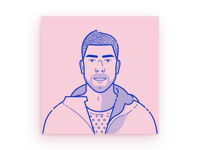 Self-portrait graphic design blue pink bro man male outline self-portrait portrait character illustration