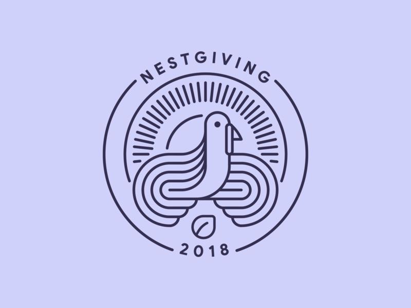 Nestgiving 2018 line stroke outline nest turkey thanksgiving mark logo badge illustration