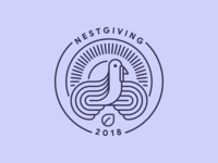 Nestgiving 2018 line stroke outline nest turkey thanksgiving mark logo badge illustration