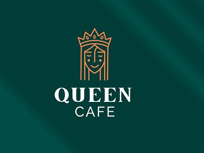 Queen Cafe Logo Identity identity design coffee minimalistic brand identity branding elegant logo luxury logo custom type lettermark logotype logos