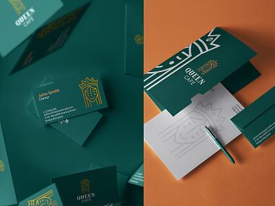 Queen Cafe Brand Identity logo brand mark luxury brand elegant font print design brand identity stationary design corporate branding classy sophisticated elegant