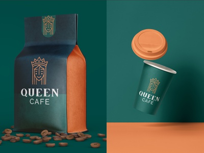 Queen Cafe Brand Identity brand brand identiy identity branding coffee packing coffee identity logo logomark package packaging packaging design color
