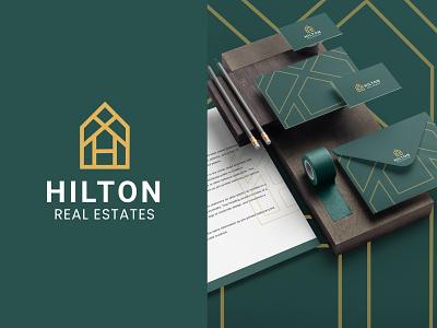 Hilton Real States Logo Identity luxury classy elegant logo design visual identity stationary design brand identity branding home broker real estate logo real estate