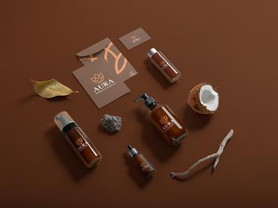 Aura Cosmetics Brand Identity modern nature skincare elegant luxury brand branding design cosmetic branding brand identity branding brand