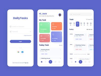 Daily Tasks App UI minimal modern mobile app ui app ui mobile app ux uiux ui tasks app ui