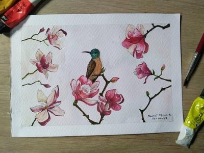 Colobrí watercolor art watercolors watercolour watercolor pintura flores colibries hummingbirds hummingbird colibri pencil drawing dibujo bird illustration dibujos cuteness artist art illustration flowers artwork