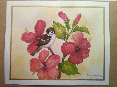 Flores rojas watercolor art acuarelas acuarela watercolor painting watercolors watercolour watercolor dibujo bird illustration dibujos art artist illustration artwork flowers