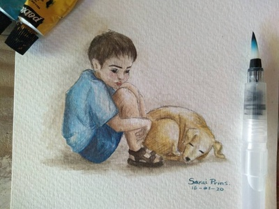 Mirada water acuarelas tristeza mirada perro niño dibujos pintura acuarela watercolor painting watercolor art watercolors watercolour watercolor dibujo cuteness artist art illustration artwork