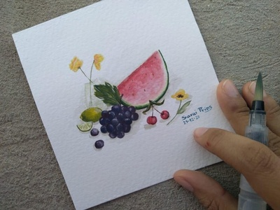 Bodegón en acuarela lemon flowers grapes watermelon frutas fruits bodegon acuarela watercolor painting watercolor art watercolors watercolour watercolor illustration artist art artwork