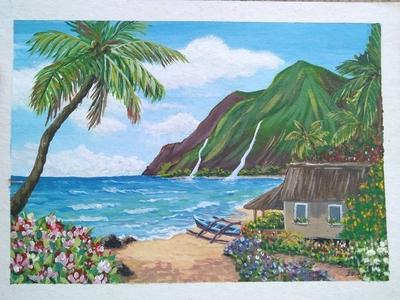 Landscape acrilic painting painting pintura acrilic beach house calm arte cabaña montaña acrilico paraiso playa beach dibujos art artist illustration artwork