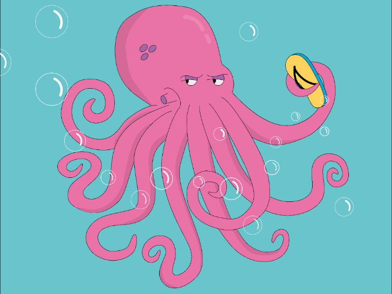 Pink octopus dangerous character pink ai vector suspicious harmful angry slippers illustration octopus
