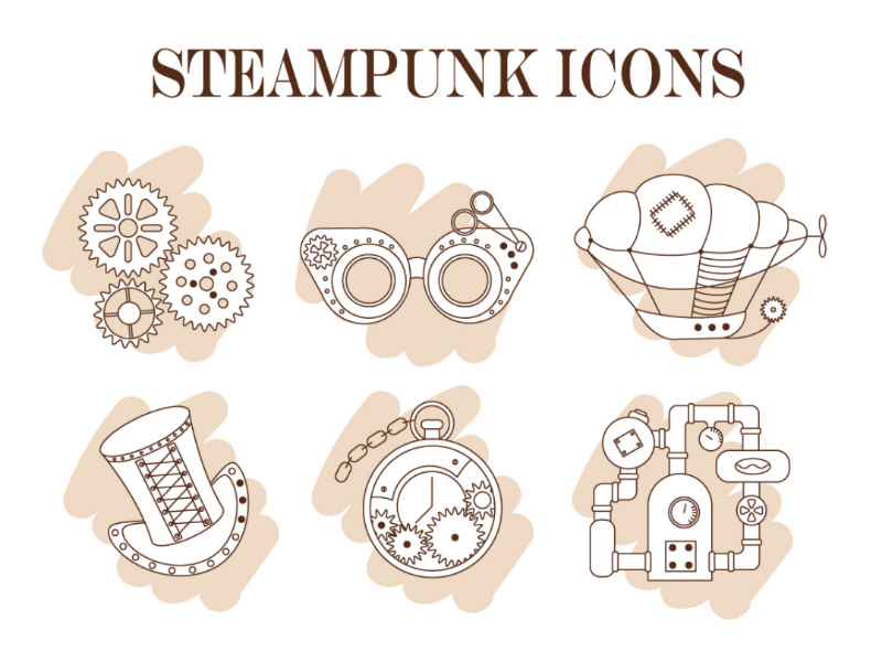Steampunk icons vector steam-engine clock cylinder hat gears airship dirigible goggle icons steampunk